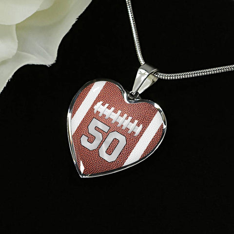 Football #50 (Original) Exclusive Heart Pendant Necklace