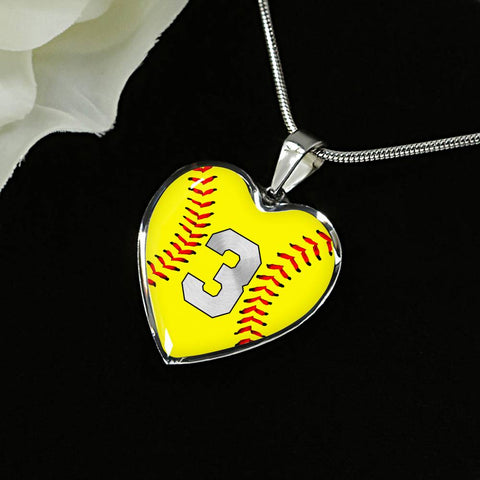 Softball #3 (Original) Heart Pendant Necklace