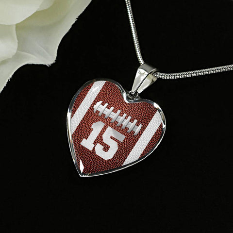 Football #15 (Original) Heart Pendant