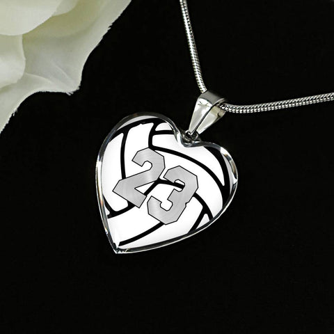 Volleyball #23 (Original) Exclusive Heart Pendant Necklace