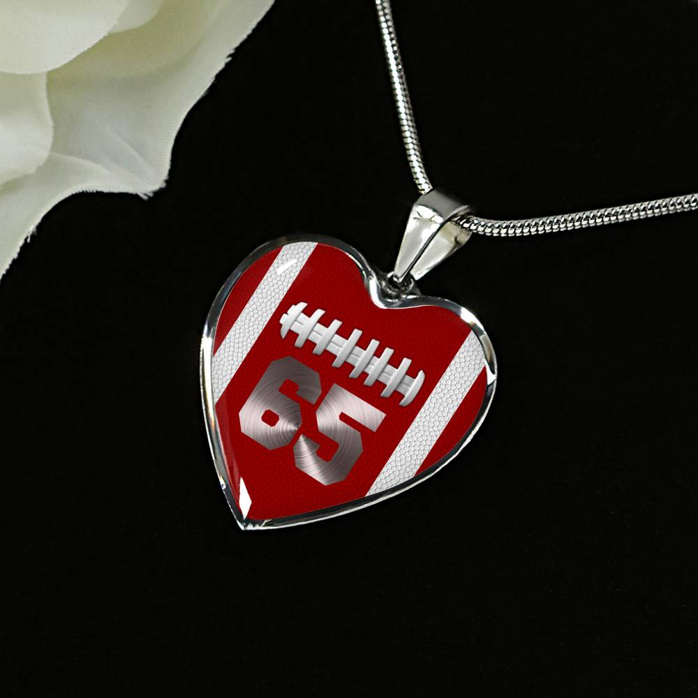 Football #65 Red Heart Pendant Necklace