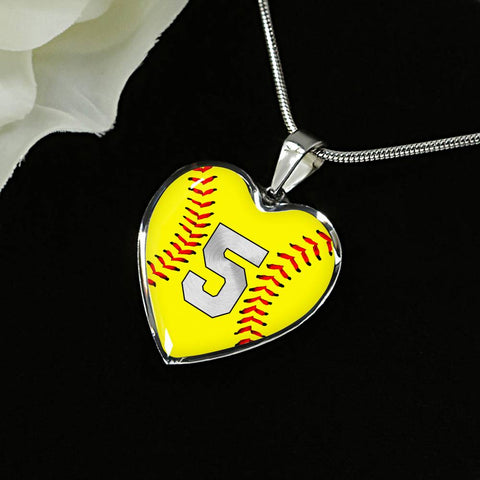 Softball #5 (Original) Heart Pendant Necklace