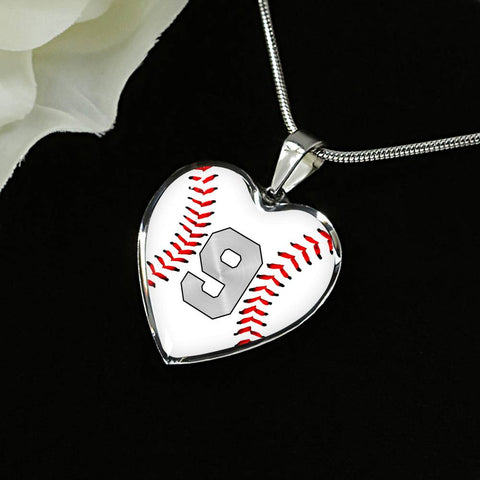 Baseball #9 (Original) Exclusive Heart Pendant Necklace