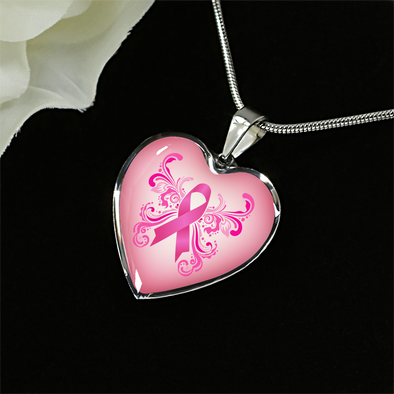 Breast Cancer Awareness Heart Pendant
