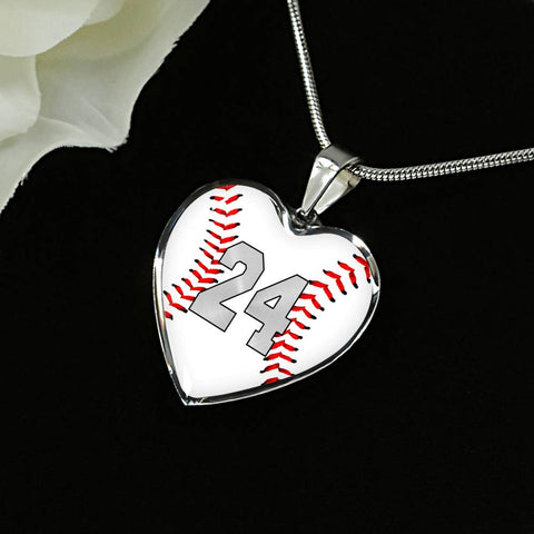 Baseball #24 (Original) Exclusive Heart Pendant Necklace