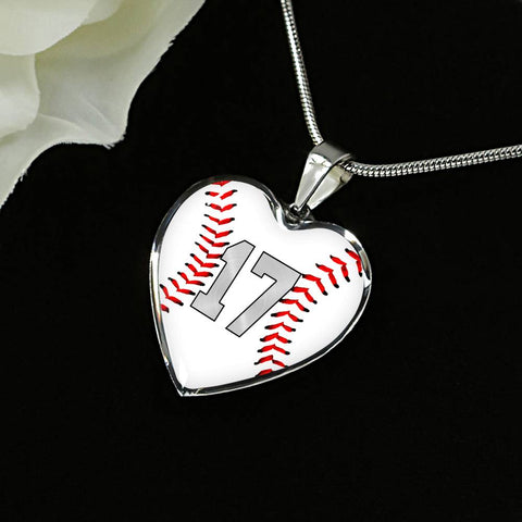 Baseball #17 (Original) Exclusive Heart Pendant Necklace