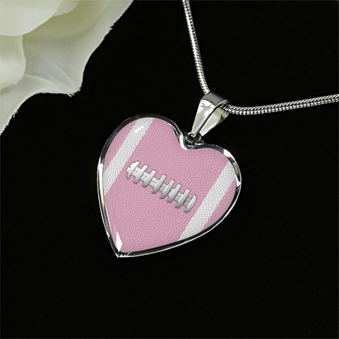 Football Pink Heart Pendant