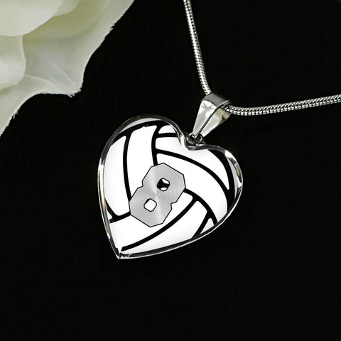 Volleyball #8 (Original) Exclusive Heart Pendant Necklace