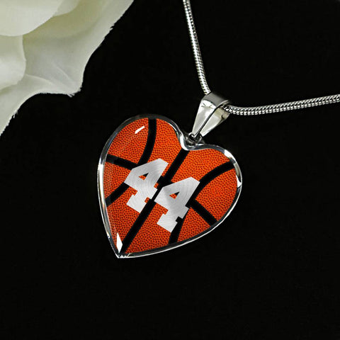 Basketball #44 (Original) Heart Pendant Necklace
