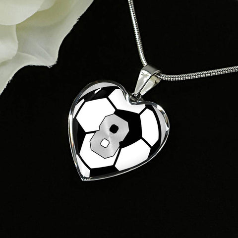 Soccer #8 (Original) Exclusive Heart Pendant Necklace