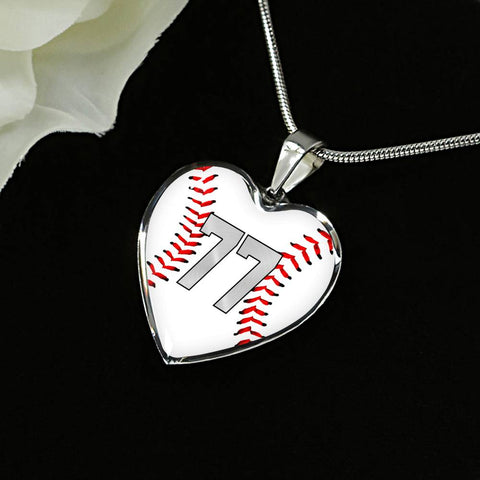 Baseball #77 (Original) Exclusive Heart Pendant Necklace