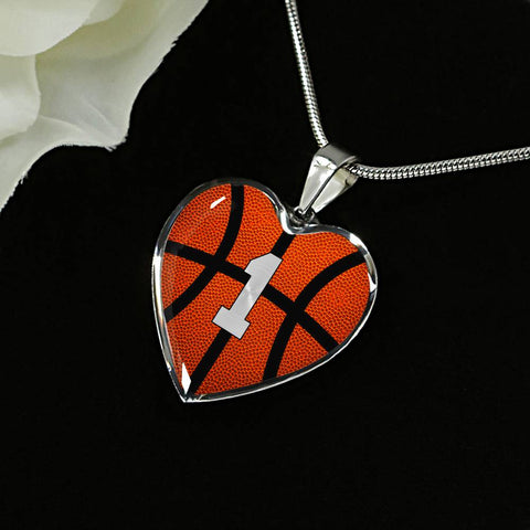Basketball #1 (Original) Exclusive Heart Pendant Necklace