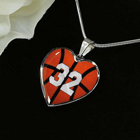 Basketball #32 (Original) Exclusive Heart Pendant Necklace