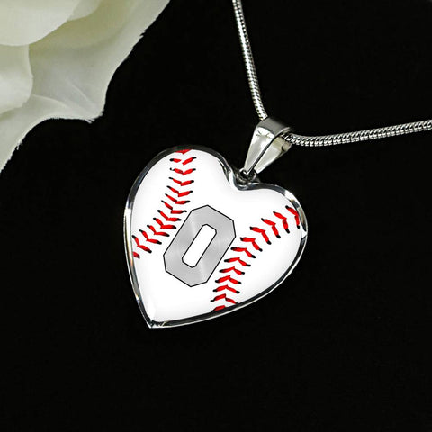 Baseball #0 (Original) Exclusive Heart Pendant Necklace
