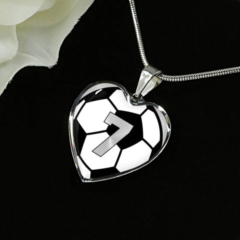 Soccer #7 (Original) Exclusive Heart Pendant Necklace