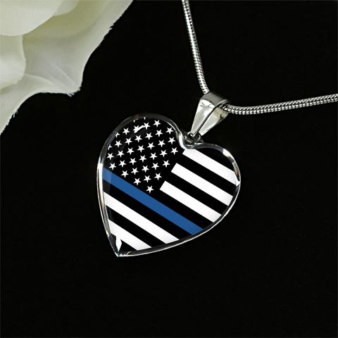 Thin Blue Line Heart Pendant
