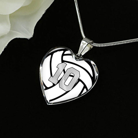 Volleyball #10 (Original) Exclusive Heart Pendant Necklace