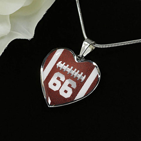 Football #66 (Original) Heart Pendant