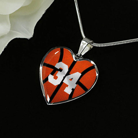 Basketball #34 (Original) Heart Pendant Necklace
