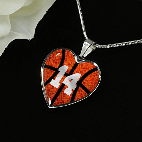 Basketball #14 (Original) Heart Pendant Necklace
