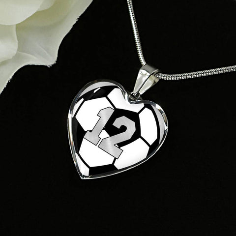 Soccer #12 (Original) Exclusive Heart Pendant Necklace