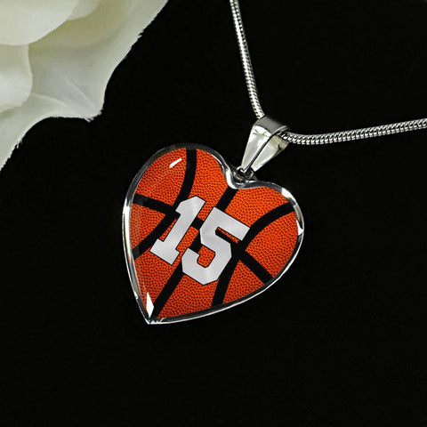 Basketball #15 (Original) Exclusive Heart Pendant Necklace