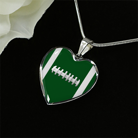 Football Green Heart Pendant