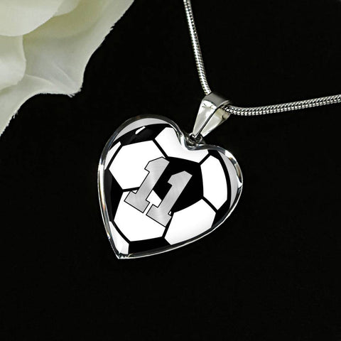 Soccer #11 (Original) Exclusive Heart Pendant Necklace