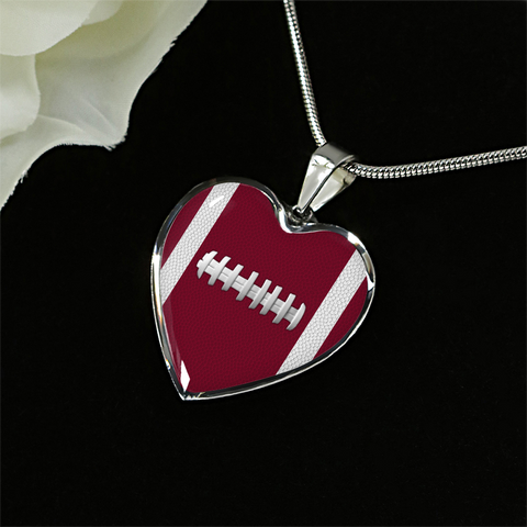 Football Burgundy Heart Pendant