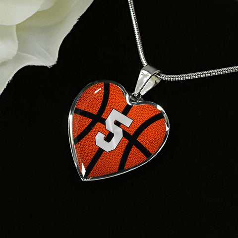 Basketball #5 (Original) Exclusive Heart Pendant Necklace