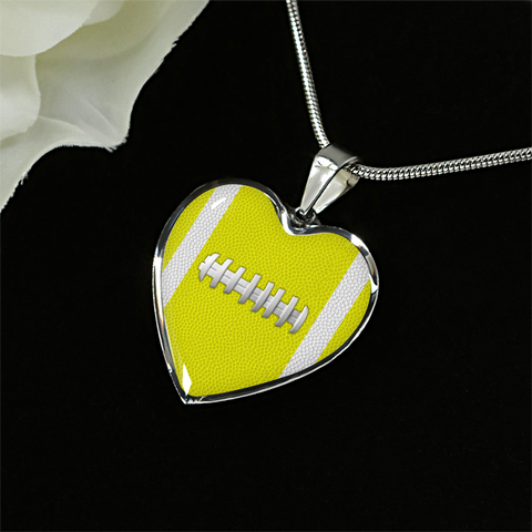 Football Yellow Heart Pendant