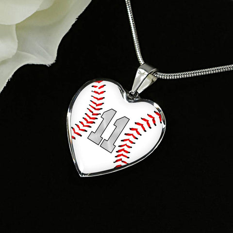 Baseball #11 (Original) Exclusive Heart Pendant Necklace