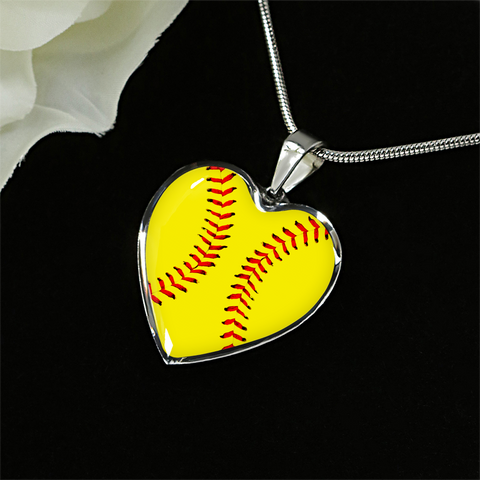 Softball Heart Pendant