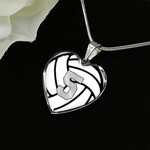 Volleyball #5 (Original) Exclusive Heart Pendant Necklace