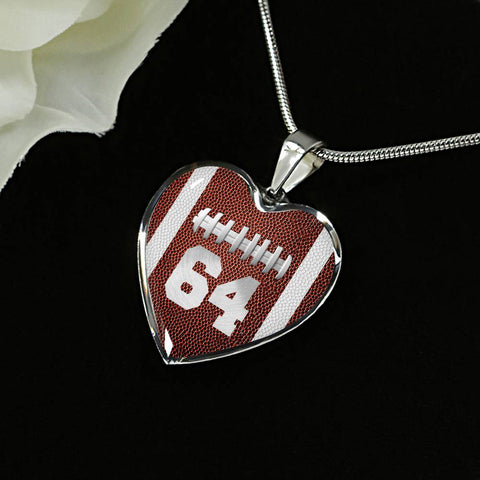 Football #64 (Original) Heart Pendant