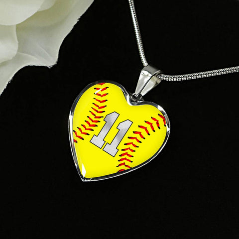 Softball #11 (Original) Heart Pendant Necklace