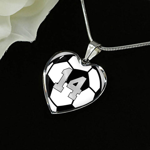 Soccer #14 (Original) Exclusive Heart Pendant Necklace