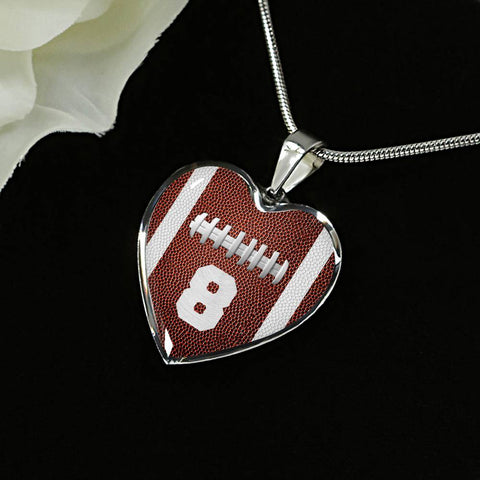 Football #8 (Original) Heart Pendant