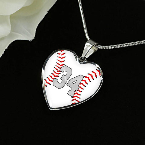 Baseball #34 (Original) Exclusive Heart Pendant Necklace