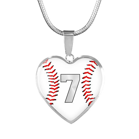 Baseball #7 (Original) Heart Pendant Necklace
