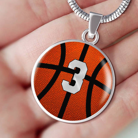 Basketball #3 (Original) Exclusive Round Pendant Necklace