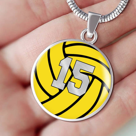 Water Polo #15 (Original) Exclusive Round Pendant Necklace