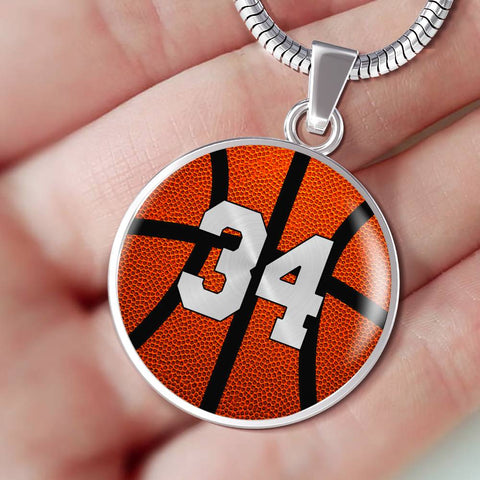 Basketball #34 (Original) Exclusive Round Pendant Necklace