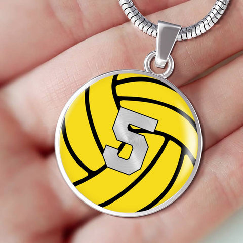 Water Polo #5 (Original) Exclusive Round Pendant Necklace