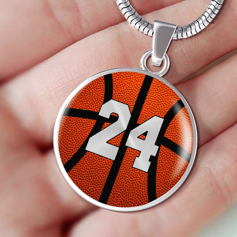 Basketball #24 (Original) Exclusive Round Pendant Necklace