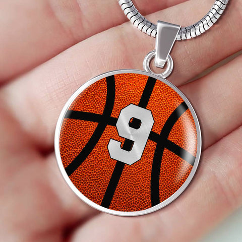 Basketball #9 (Original) Exclusive Round Pendant Necklace