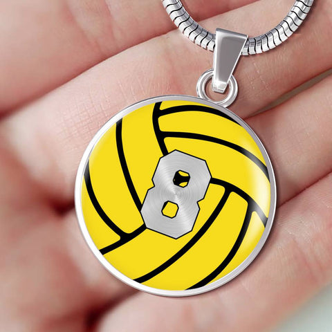 Water Polo #8 (Original) Exclusive Round Pendant Necklace