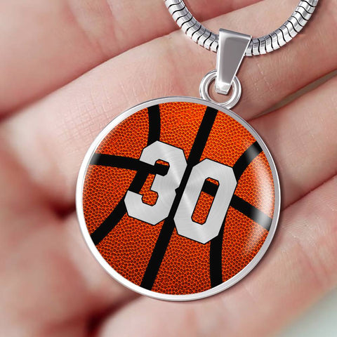Basketball #30 (Original) Exclusive Round Pendant Necklace