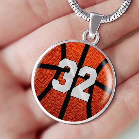 Basketball #32 (Original) Exclusive Round Pendant Necklace
