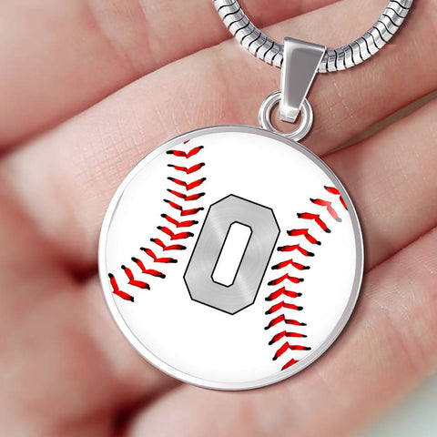 Baseball #0 (Original) Exclusive Round Pendant Necklace